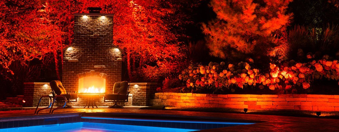 Red lighting at pool and fireplace
