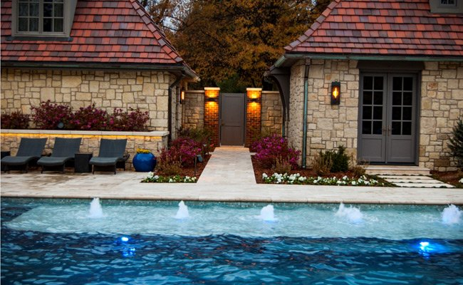 outdoor pool with fountains